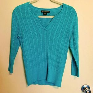 EDDIE BAUER V-NOTCH CABLE-KNIT SWEATER-S